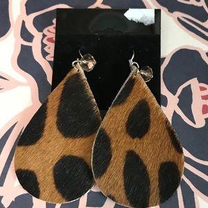 Jewelry - Cheetah print leather earrings